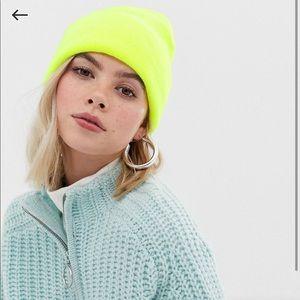 Asos neon yellow beanie